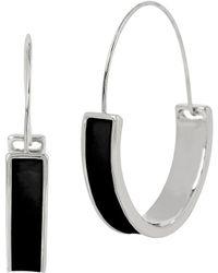 Kenneth Cole | Modern Round Black Hoop Earrings | Lyst