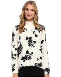 Vince Camuto Long Sleeve Turtleneck Shadow Bouquet Print Sweater - Lyst