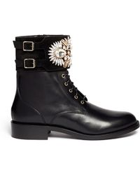 Rene Caovilla Jewelled Suede Cuff Leather Boots - Lyst