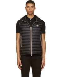 Moncler Black Quilted Down Hooded Naples Vest - Lyst