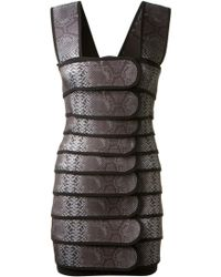 Christopher Kane Grey Stretch Reptile Printed Dress - Lyst