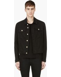Versus  Black Denim Accent Button Jacket - Lyst