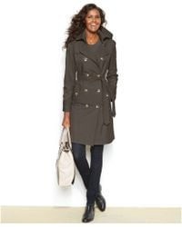 London Fog Petite Hooded Belted Trench Coat - Lyst