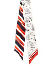 Brooks Brothers Small Tie Sailboat Print Silk Scarf - Lyst