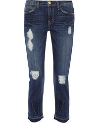 Current/Elliott The Cropped Distressed Mid-Rise Straight-Leg Jeans - Lyst
