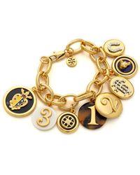 Tory Burch Dellora Charm Bracelet Multishiny Brass - Lyst