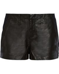 Rag & Bone Hyde Portobello Leather-paneled Cotton Shorts - Lyst