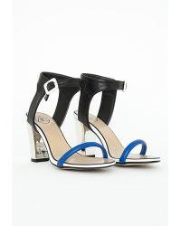 Missguided Contrast Strap Block Heel Sandals Cobalt Blue - Lyst
