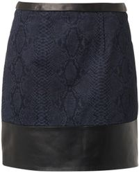 Christopher Kane Leather and Snakeprint Denim Skirt - Lyst