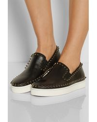 Christian Louboutin Cador Studded Leather Slip-on Sneakers - Lyst