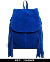Asos Suede Big Backpack with Fringing - Lyst