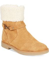 Tommy Hilfiger Womens Nessy Faux-shearling Booties - Lyst