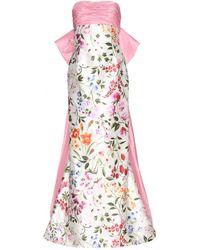 Oscar de la Renta English Garden Mikado Bow Back Gown - Lyst