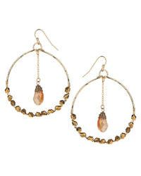 Topshop Facet And Chain Drop Earrings gold - Lyst