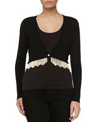 Versace Cardigan With Metal Fringe - Lyst
