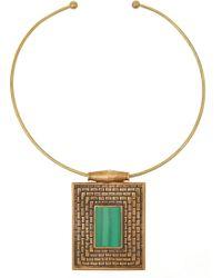 Pamela Love Lateres Bronze Malachite Necklace - Lyst