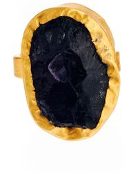 Kasturjewels Adjustable Purple Amethyst Semiprecious Stone 22kt Gold Plated Ring On Brass - Metallic