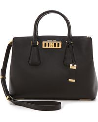 Michael Kors Collection Vivian Large Satchel Black - Lyst