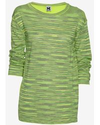 M Missoni Silk Back Knit Long Sleeve Tee - Lyst
