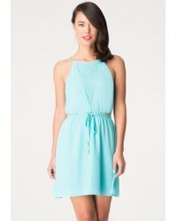 Bebe Chain & Lace Detail Dress - Lyst