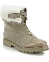 Burberry | Quinsley Suede & Shearling Ankle Boots | Lyst