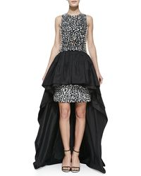 Michael Kors Crepe Jeweled Peplum Gown - Lyst