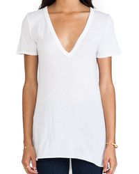 Enza Costa Loose Short Sleeve V Tee - Lyst