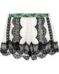 Anna Sui Jacquard-Trimmed Lace Shorts - Lyst