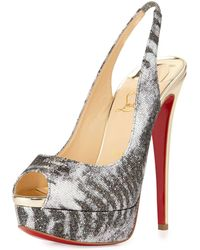 Christian Louboutin Lady Peep Slingback Red Sole Platform Pump - Lyst