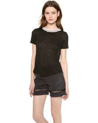 Rebecca Taylor Tweed Combo Tee Red Combo - Lyst