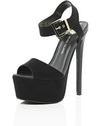 River Island Black Platform Sandals - Lyst