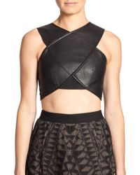 BCBGMAXAZRIA Nyella Faux-Leather Cropped Top - Lyst