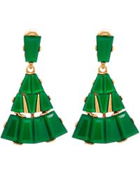 Oscar de la Renta Green Resin Baguette Clipon Earrings - Lyst