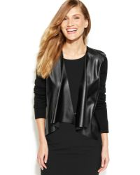 Calvin Klein Faux-Leather-Panel Knit Shrug - Lyst