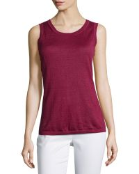 Lafayette 148 New York Sleeveless Scoop-Neck Tank red - Lyst