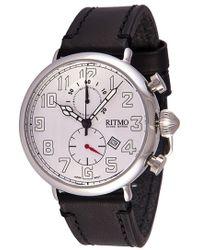 Ritmo Mundo - 'vintage' Leather Strap Chronograph Watch - Lyst