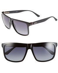 Gucci 57Mm Sunglasses - Shiny Black/ Grey Gradient - Lyst