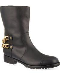 Giuseppe Zanotti Chain Trim Leather Calf Boots - For Men - Lyst