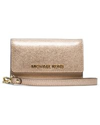 MICHAEL Michael Kors Jet Set Leather Phone Wristlet - Lyst