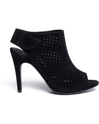 Pedro Garcia 'Sofia' Perforated Suede Sandal Booties - Lyst
