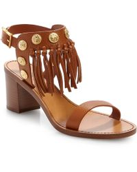 Valentino Fringed Leather Sandal - Lyst