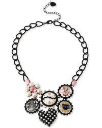 Betsey Johnson Black-tone Wonderland Charm Frontal Necklace - Lyst