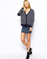 Asos Cardigan In Stripe With Heart Elbow Patch - Lyst