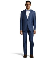 Hugo Boss Medium Blue Virgin Wool 2-Button 'The Keys 12' Suit With Pleated Pants - Lyst