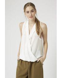 Topshop Sleeveless Collar Drape Blouse - Lyst
