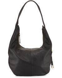 Halston Heritage Pebbled-Leather Zip-Top Hobo Bag black - Lyst
