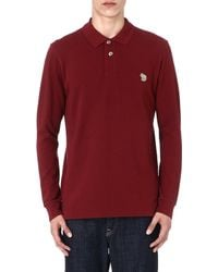 Paul Smith Zebra Longsleeved Polo Shirt Red - Lyst