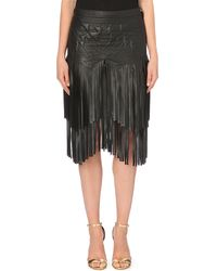 Roberto Cavalli Fringed Leather Skirt - Lyst