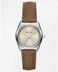 Emporio Armani Emporio Armarni Tazio Taupe Leather Watch Ar6027 - Lyst