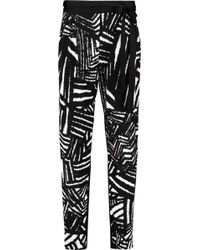 Issa | Ebony Printed Satin-jersey Tapered Pants | Lyst